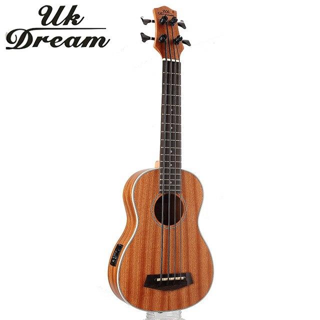 30 pollice Mini Electrica Chitarra Strumenti Musicali Pieno Sapele Retro Chiuso Knob Ukulele 4 corde Basso Chitarra Guitarra UB-113