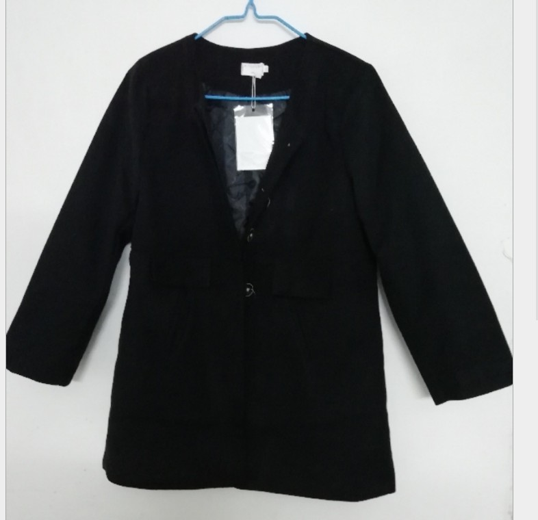 New 19 Spring Autumn Plus Size Wool Coat Women Loose A-aline Long Sleeved O-neck Medium Long Black Yellow Korean Coat Casacos 12