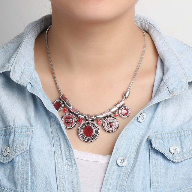 2018 New Choker Necklace Fashion Ethnic Collares Vintage Silver Color Colorful Bead Pendant Statement Necklace For Women Jewelry 5