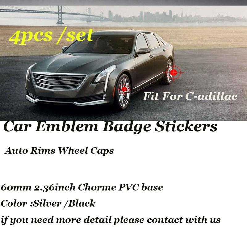 4PCS/SET 56mm Auto stickers For cadillac ATS BLS CTS Escalade EXT STS SLS SLR SRX XTS Car Emblem badge Rims Wheel Covers Label