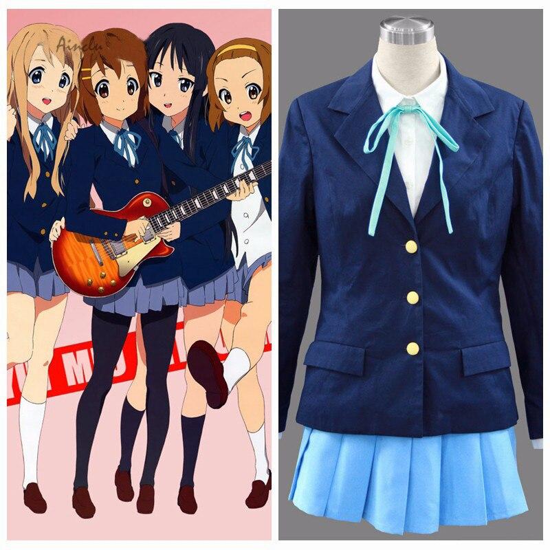 Ainclu FreeShipping K-ON! Anime Sakuragoaka Girl's High School Uniform Blue Skirt Halloween Cosplay Costumes Customize plus size