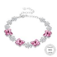 Hemiston Authentic 100% Real 925 Sterling Silver Pink Crystal Butterfly Link Bracelet , Bijoux Jewelry Gift For Women