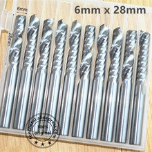 6mm * 28mm, CNC machine vhm tungsten end mill, houtbewerking frees, 1 Flute end mill, PVC, MDF, acryl, hout tool