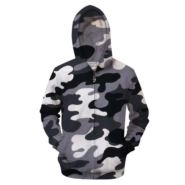4dca8291ce1eb men fashion long Sleeve hoodies men zipper hoodie Black white camouflage  hoody 3d print hood Sweatshirts hip hop Tracksuit Coat