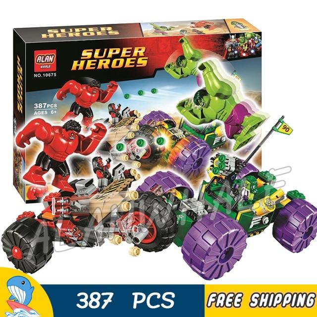 387pcs Super Heroes Avengers Hulk Vs Red Hulk Team Vehicle Cars