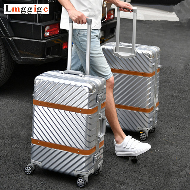 Aluminum frame+PC Rolling Luggage Travel Suitcase Bag,Men Trolley Case,Women Multiwheel Carry-On,Nniversal wheel Box