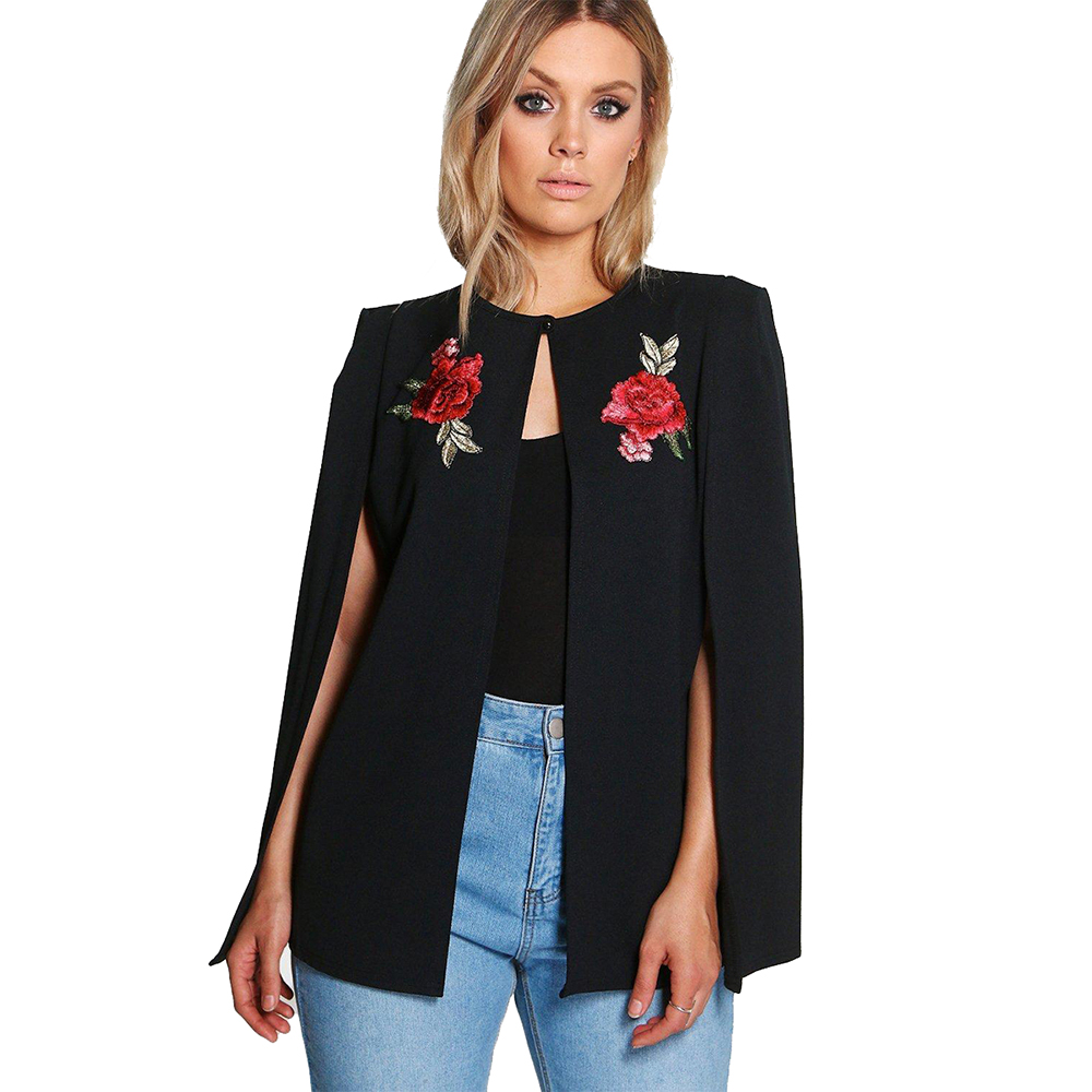 Plus Size Floral Embroidery Cloak Black Blazer Women Open Stitch Solid Color Basic Tops Large Size fomal Cloak Coat Outwear 6XL ...