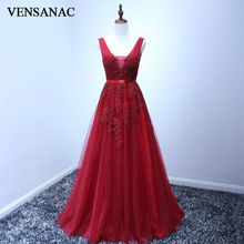 VENSANAC 2017 New A Line Lace Appliques V Neck Long Evening Dresses Sleeveless Beadings Sash Sweep Train Party Prom Gowns vensanac 2017 new a line lace appliques o neck long evening dresses sleeveless elegant beadings sash tank party prom gowns