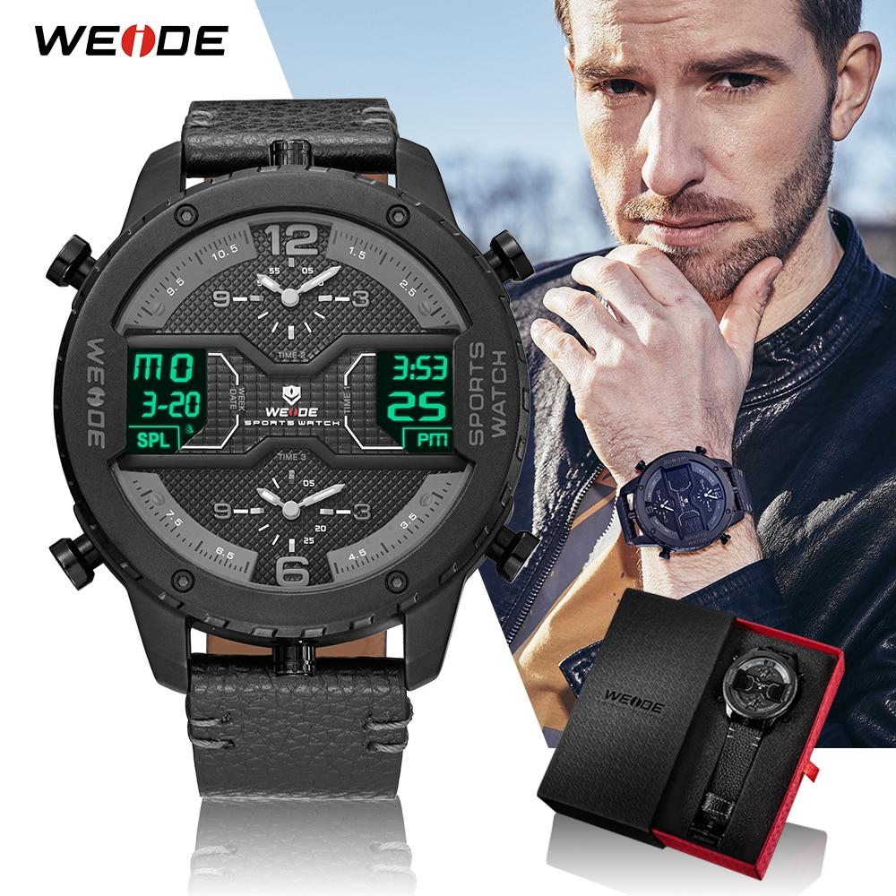 WEIDE Sport Watch Military Men's Analog Digital Quartz Black Leather Strap Wristwatches Relogio Masculino Chronograph Clock 2018 все цены