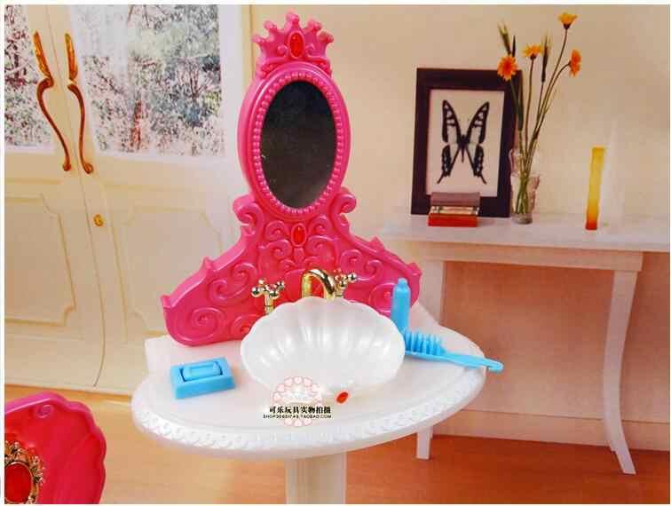 Modne meble łazienka zagraj zestaw wanna + Dresser + wc apartament typu suite skrzynka dla lalka Barbie 1/6