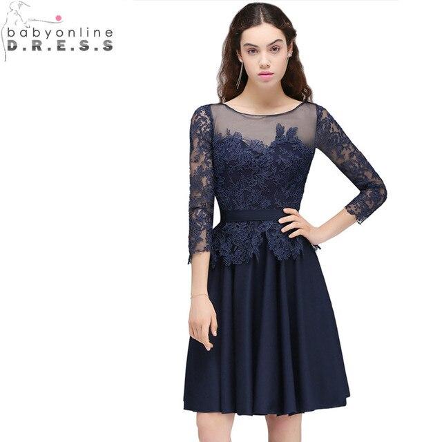 f8325df9b3a0c € 36.06 37% de réduction|Sexy dos ouvert bleu marine dentelle courte robe  de soirée en mousseline de soie trois quarts manches robes de soirée ...