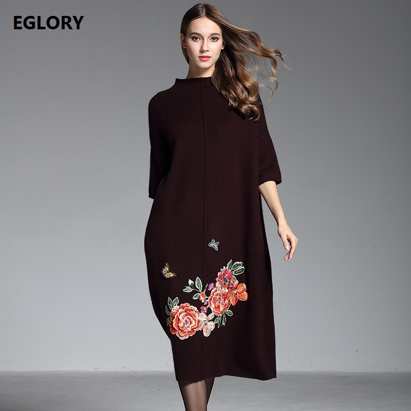 New Brand Fashion Winter Sweater Dress Women Batwing Sleeve Floral Embroidery Big Size 3XL Casual Loose Knitted Dress Feminino