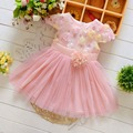 Summer lace Mesh Flower Gilrs baby Party Birthday girls kids Children dresses, princess infant Dress vestidos MT384