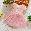 Verão lace Malha Flor Gilrs do bebê meninas crianças dos miúdos vestidos de Festa de Aniversário, Vestido de princesa infantil vestidos MT384