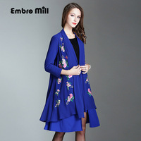 Vintage Royal Embroidery Autumn Blue Black Cloak Woman Chinese Style Runway Lady Elegant Plus Size Loose