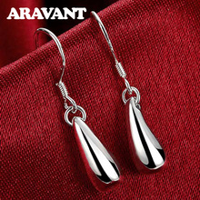 цены на 925 Silver Fashion Water Drop Earrings Women Earrings Silver Plated Jewelry Christmas Gifts  в интернет-магазинах