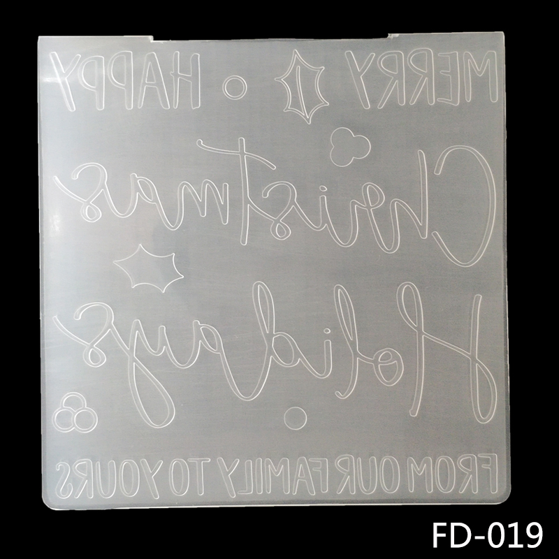 AZSG New Arrival Happy / Merry Christmas Embossing folder plastic Plates ForScrapbooking /Paper Cutting Dies /Cutting Machine