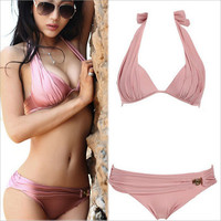 2016 Newest Sexy Bikinis Women Swimsuit Low Waisted Bathing Fleshcolor Suits Swim Halter Top Push Up