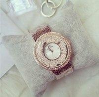 2016 New Women Rhinestone Watches Fashion Lady Diamond Stone Dress Watch Stainless Steel Big Dial Wristwatch
