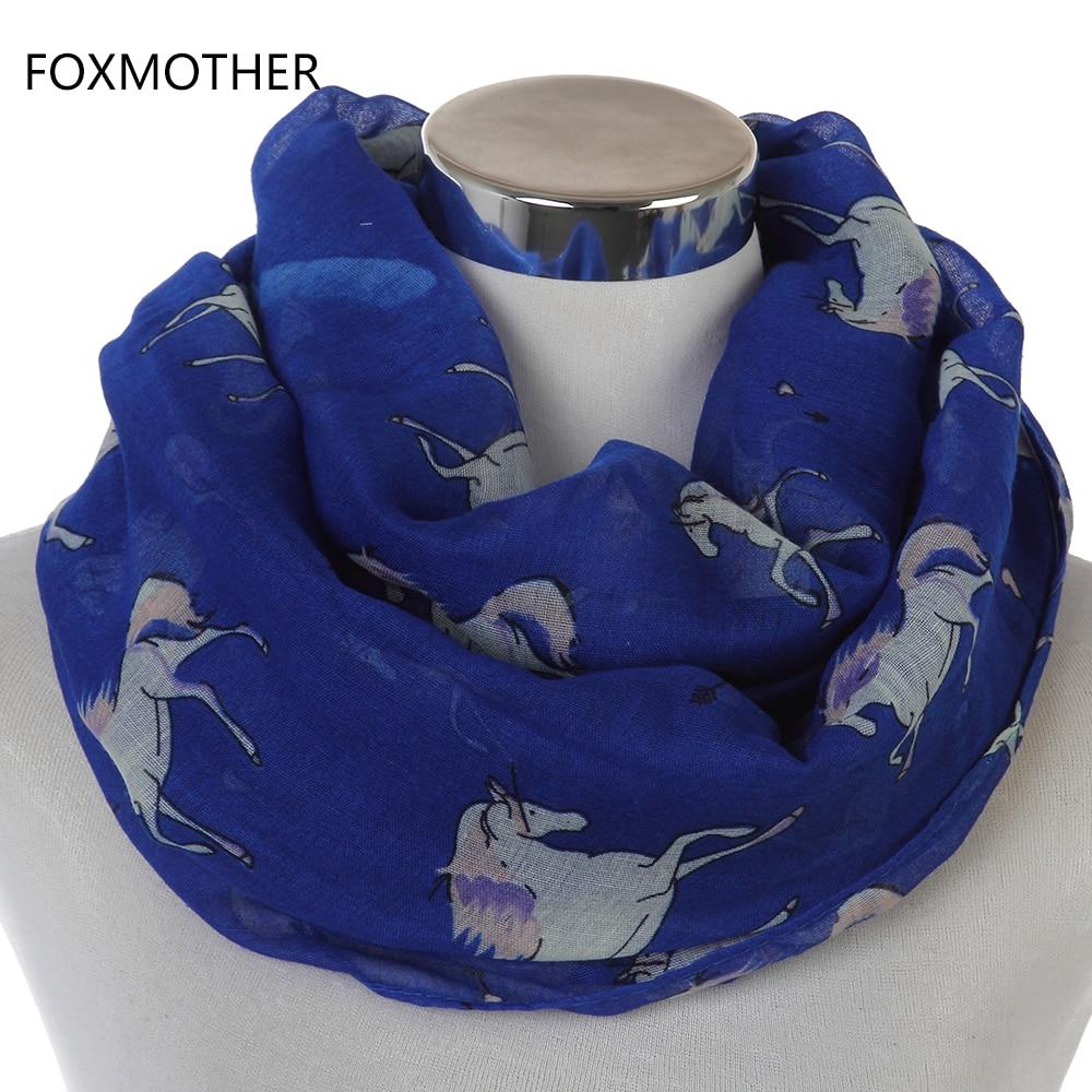 FOXMOTHER 2018 Nya fashionabla lätta mjuka hästinfinity-halsdukar för kvinnor