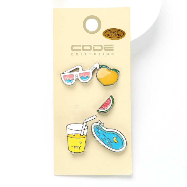 Fashion Enamel Brooch Pins Sunglasses Drink Swimming Pool Beach Chair  Brooches Lapel Pins For Hat Bag