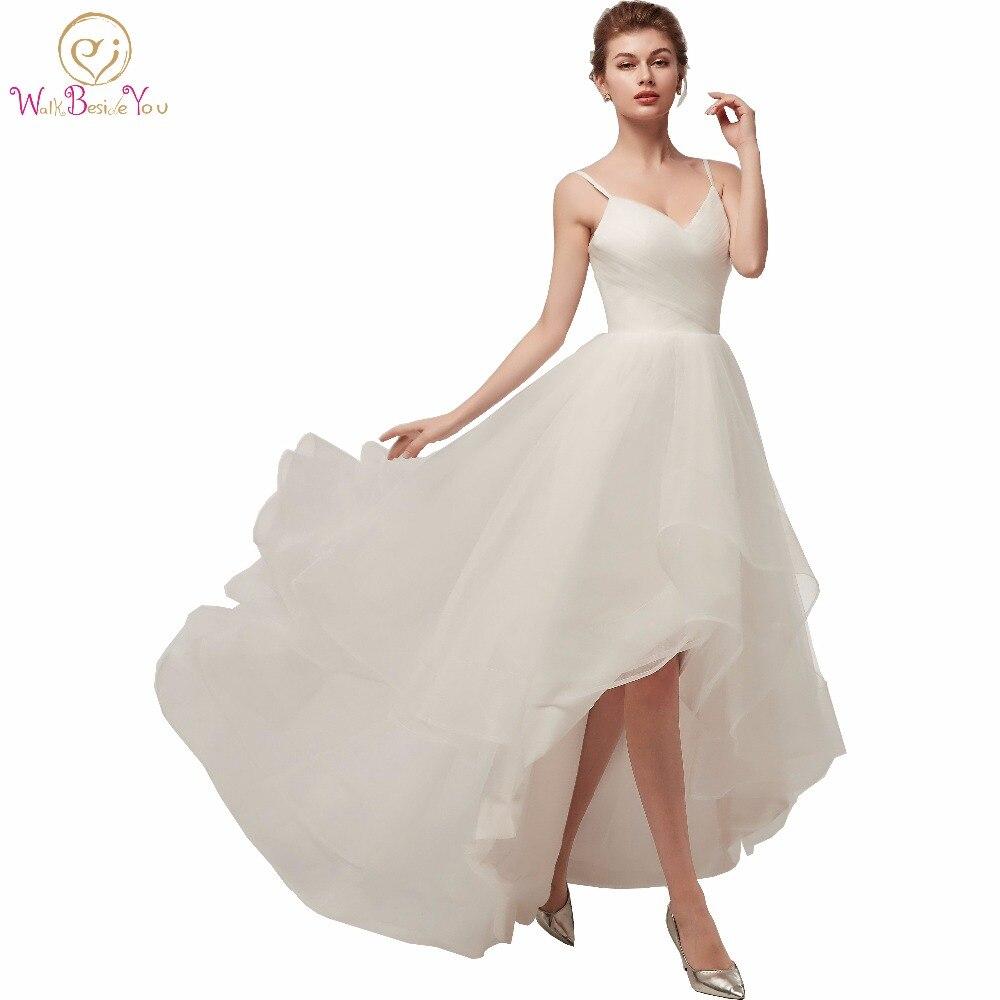 Walk Beside You Ivory Wedding Dresses Spaghetti Straps V neck Tulle Short Front Long Back Beach