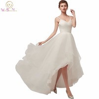 Walk Beside You Ivory Wedding Dresses Spaghetti Straps V Neck Tulle Short Front Long Back Beach