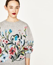 TOP VERSION !!! WISHBOP 2017 Runway NEW Light Grey Floral Embroidered WOOL Sweaters O- NECK OVERSIZED JUMPERS