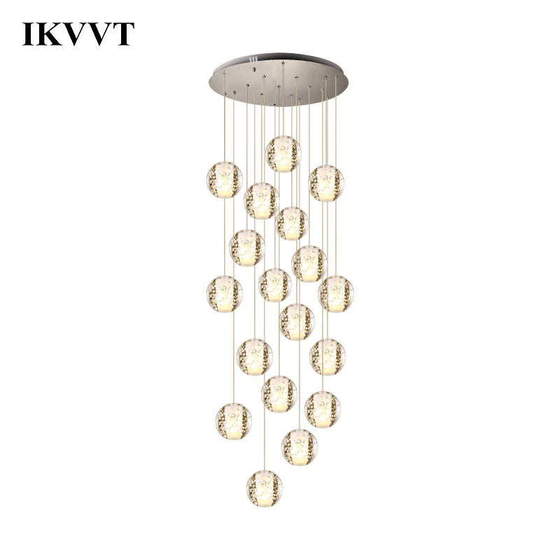 IKVVT Modern crystal glass Pendant Lamp Staircase Foyer Restaurant Creative Personality Decoration Hanging Lighting Lamps цена