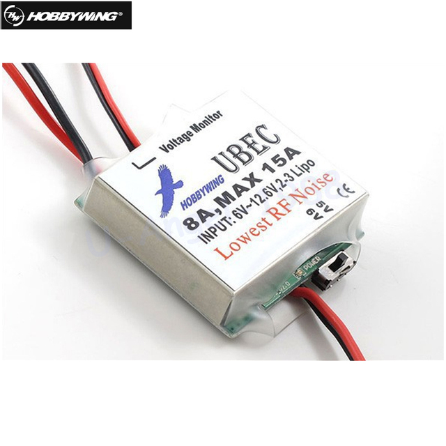 1pcs Original Hobbywing 5V 6V Switchable RC 8A UBEC Max 15A Lowest RF Noise BEC Voltage Regulator Mdoule Drone Quadcop
