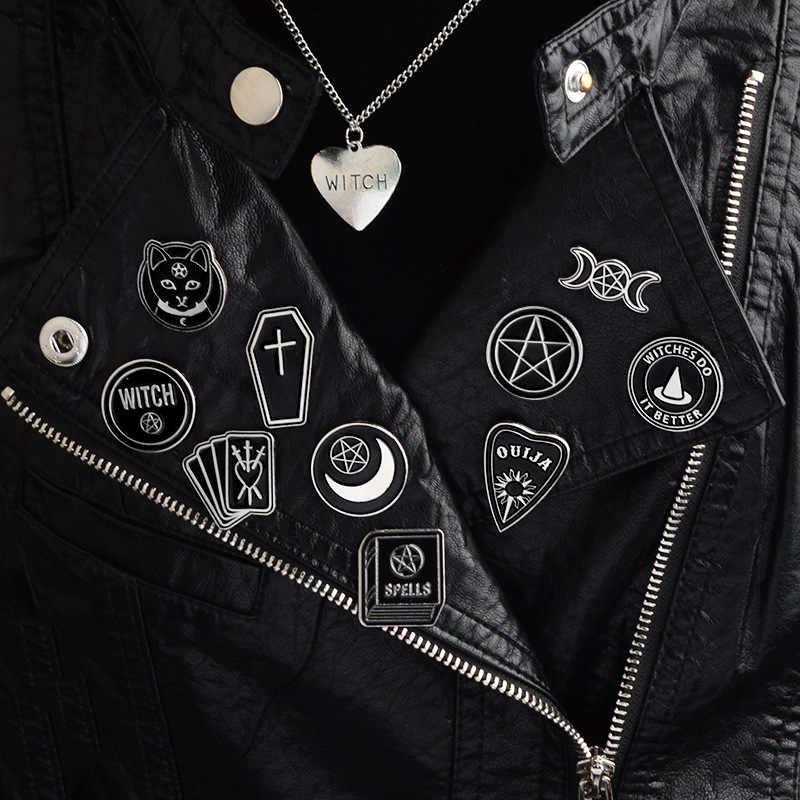 2019 Punk dark Broches Heks Ouija Maan Tarot Boek Nieuwe Goth Stijl Emaille Pins Badge zak hoed overhemd sieraden Geschenken voor vrienden