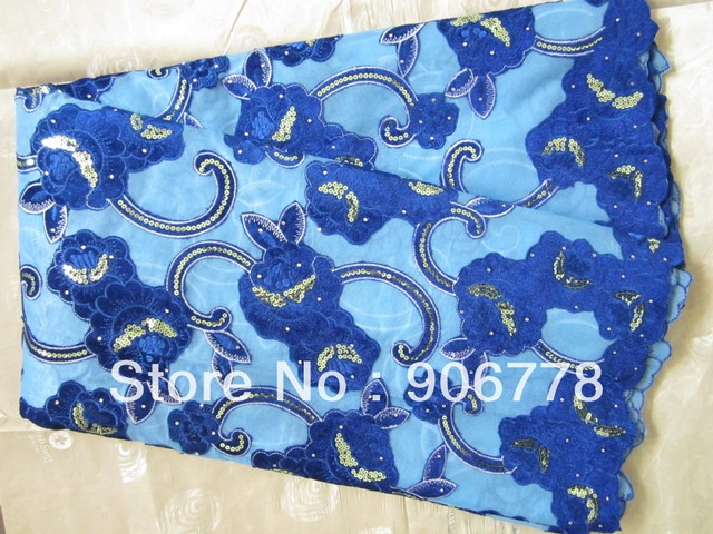 popular design royal blue velvet double organza pretty good for wedding and party swiss voile lace 5yards/pc
