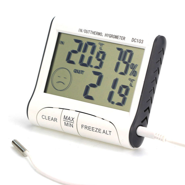 Superior Weather Station Household Indoor And Outdoor Use Temperature Humidity Meter  Temperature Display Thermometer Hygrometer DC103