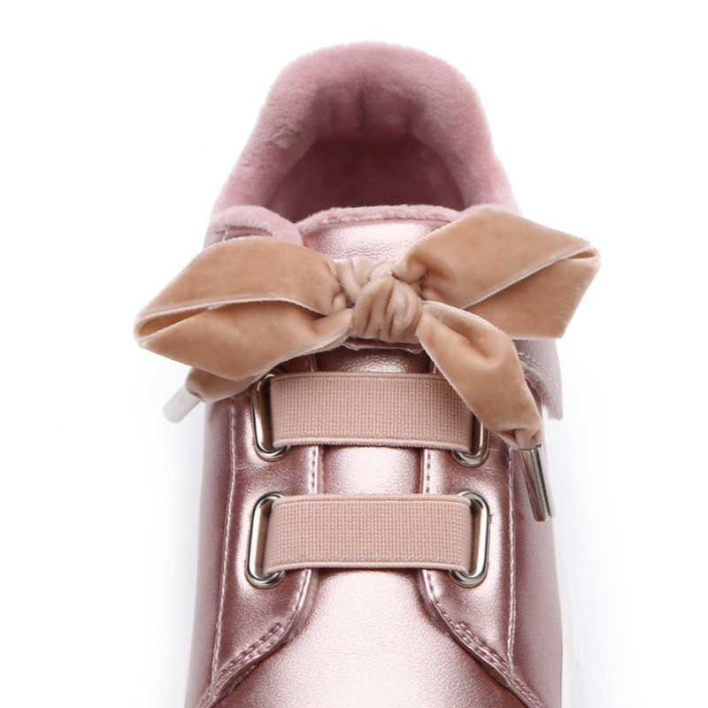 Balabala Bé Gái Trang-Lót Da PU Giày Thể Thao Cho Bé Gái Trẻ Em Nhung Thắt Nơ Cổ Buộc Dây giày Thể Thao Độn Đế