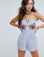 NEW SALE Flower Slim Denim Shorts Jumpsuits Tube Top Cutout Racerback Embroidery Playsuits Rompers S