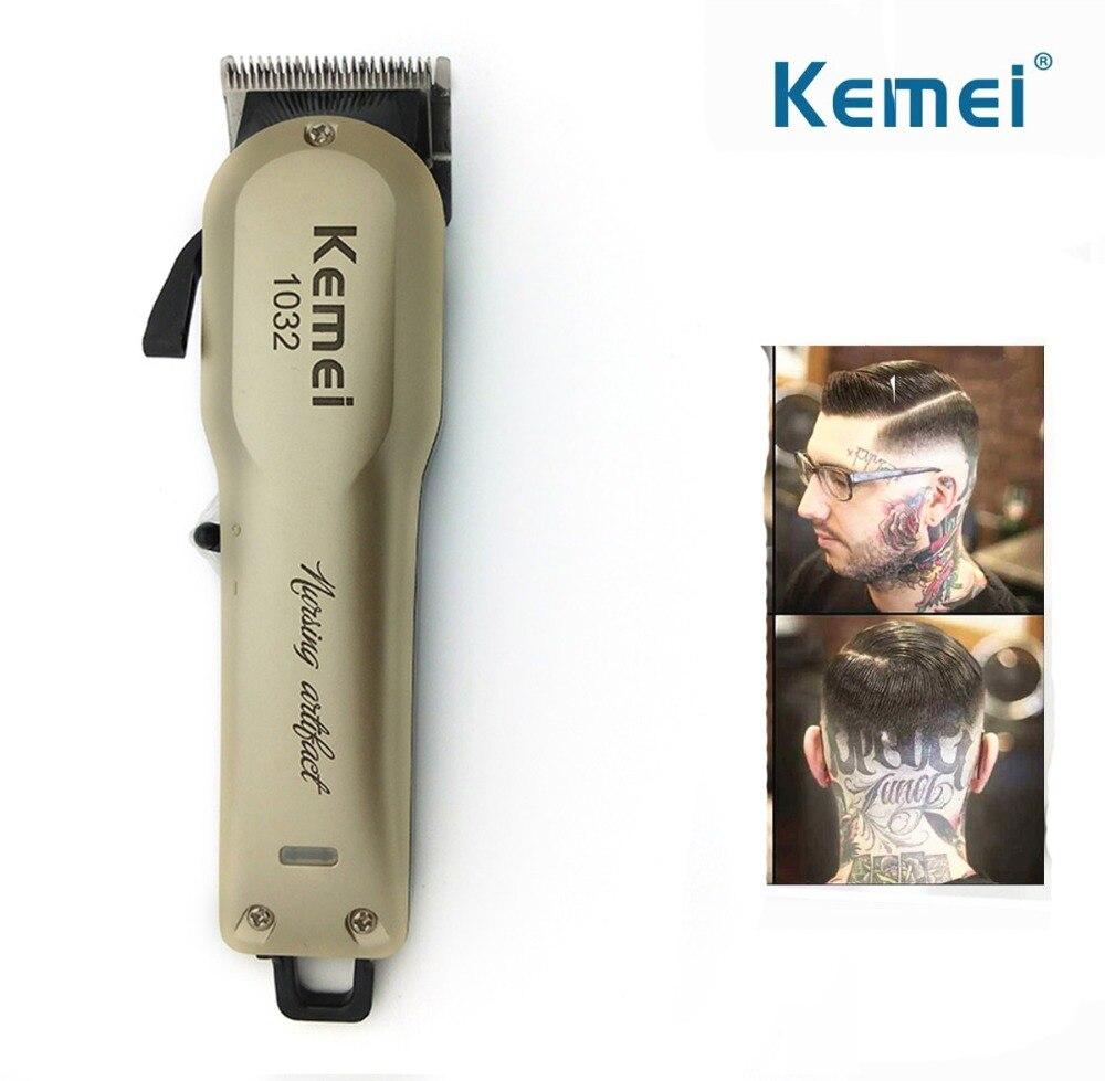 Kemei Cabelo Poderoso Cordless Aparador de Barba Barbear Máquina de Cortar Cabelo Elétrica Profissional Máquina de Corte de Cabelo com Pentes de Barbeiro
