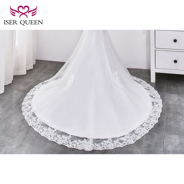 Beading Lace Mermaid Wedding dress 2019 Pearl Beautiful Appliques Court Train Lace up Pure White Mermaid wedding Gown WX0032 5