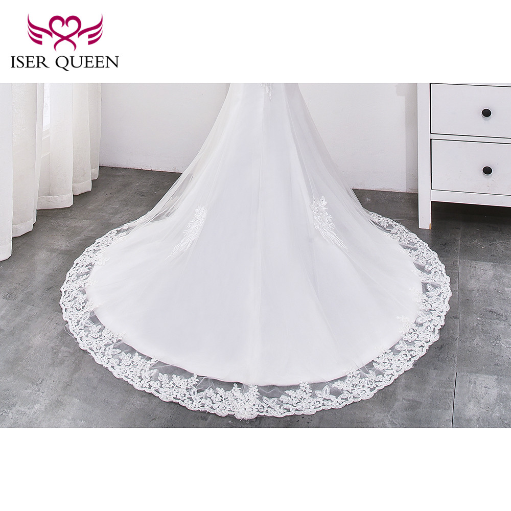 Image 5 - Beading Lace Mermaid Wedding dress 2019 Pearl Beautiful Appliques Court Train Lace up Pure White Mermaid wedding Gown WX0032-in Wedding Dresses from Weddings & Events