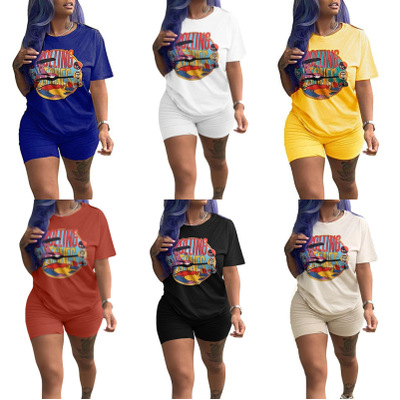 3 Color Solid Color Shorts Cartoon Print T-shirt. S-3xl Size Fashion Casual Women's Sports Suit  For Spring And Summer