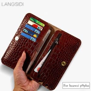 Image 1 - Wangcangli брендовый чехол для телефона из натуральной телячьей кожи крокодиловая Текстура Флип многофункциональная сумка для телефона для Huawei P9 Plus ручная работа
