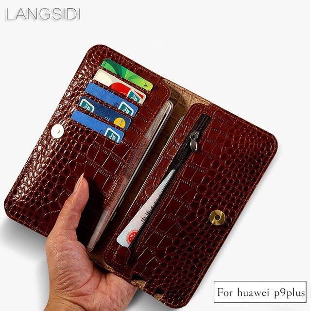 Wangcangli брендовый чехол для телефона из натуральной телячьей кожи крокодиловая Текстура Флип многофункциональная сумка для телефона для Huawei P9 Plus ручная работа