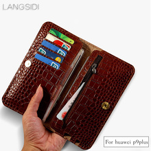 wangcangli brand genuine calf leather phone case crocodile texture flip multi function phone bag for Huawei P9 Plus hand made