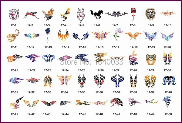 50pcs Middles Size Tattoo Stickers For Airbrush Tattoo Removable Animals Patterns Temporary Body Tattoo Templates Free Shipping