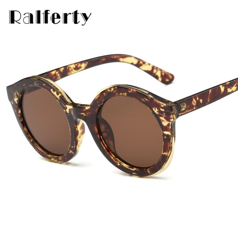a6172200071cc Ralferty Senhoras Do Vintage Rodada Óculos De Sol Das Mulheres Designer de  Marca Óculos de Sol