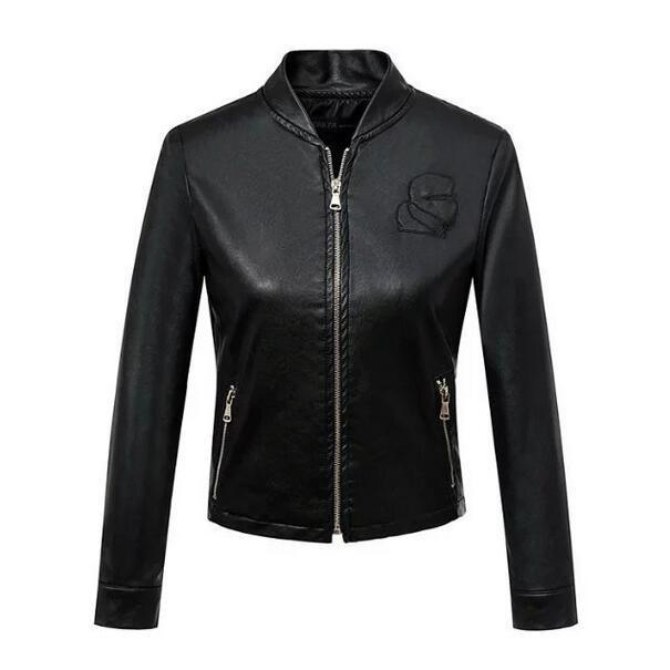 Европейский стиль 2017 новых осенью женщины Омывается ПУ кожа Стенд воротник длинный рукав модели простой черный пиджак T425