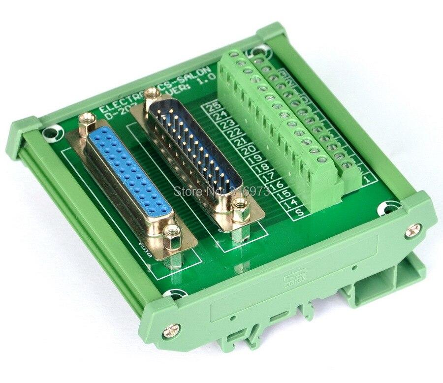 DB25 D Sub DIN Rail Mount Interface Module, Male / Female, Breakout Board.