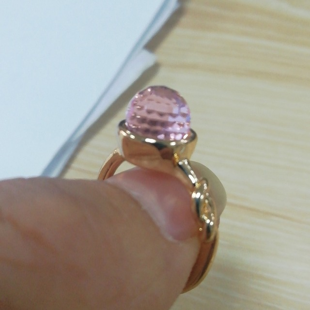 Hot Sale Pink Crystal Moonstone Rings European Fashion Female Creative Knot Ring