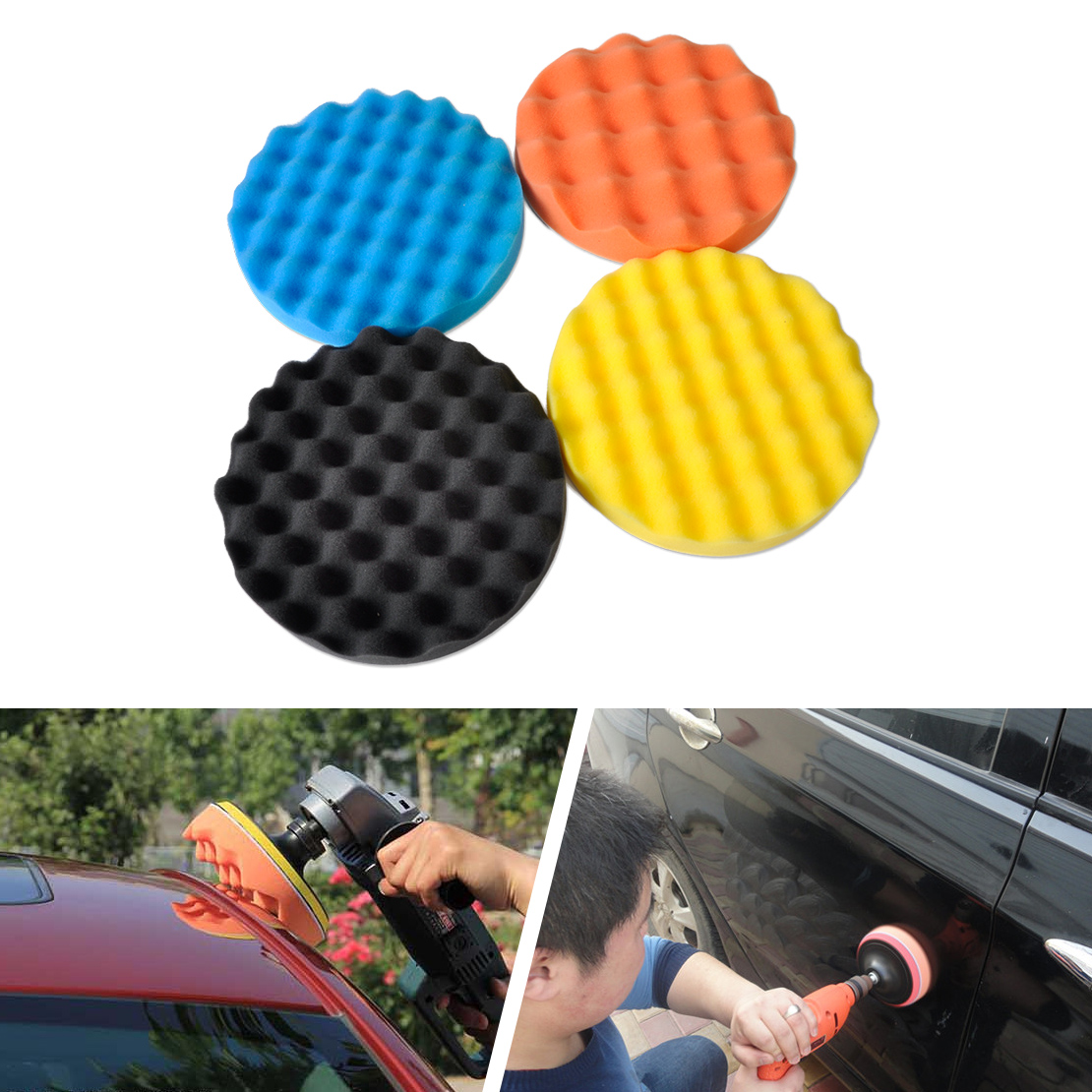 "CITALL 4pcs 7"" Waffle Wave Foam Pad Set For Car Vehicle"