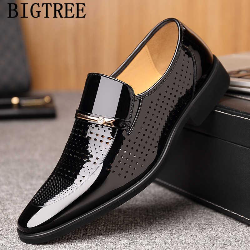 Дышащая обувь из лакированной кожи нарядные туфли для мужчин классические Лоферы Мужская обувь в деловом стиле мужские элегантные свадебные платья oficina 2019 sepatu