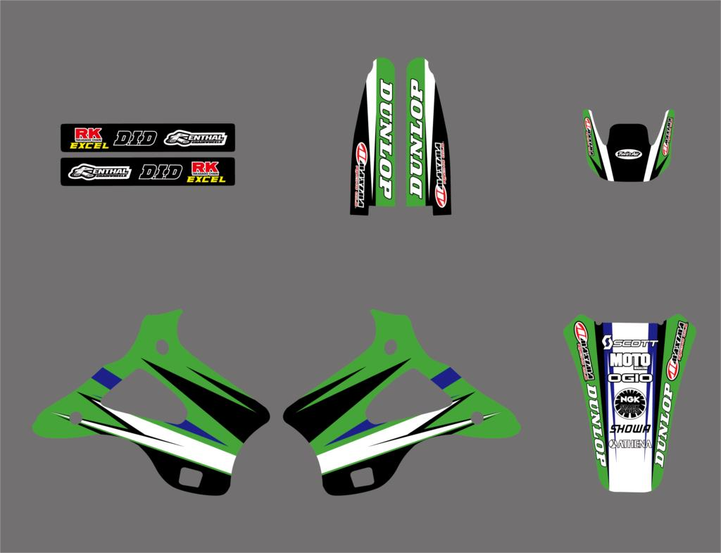 0219 New Style TEAM GRAPHICS & BACKGROUNDS DECALS STICKERS Kits for Kawasaki KX125 KX250 1994 1995 1996 1997 1998 KX 125 250-in Decals & Stickers from Automobiles & Motorcycles    3